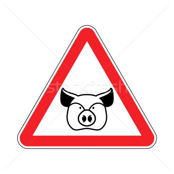 Warning Pig. swine on red triangle. Road sign attention to farm  Stock photo © popaukropa