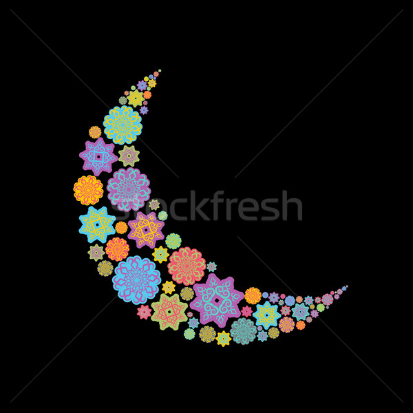 Crescente Árabe padrão ilustração ramadan islão Foto stock © popaukropa