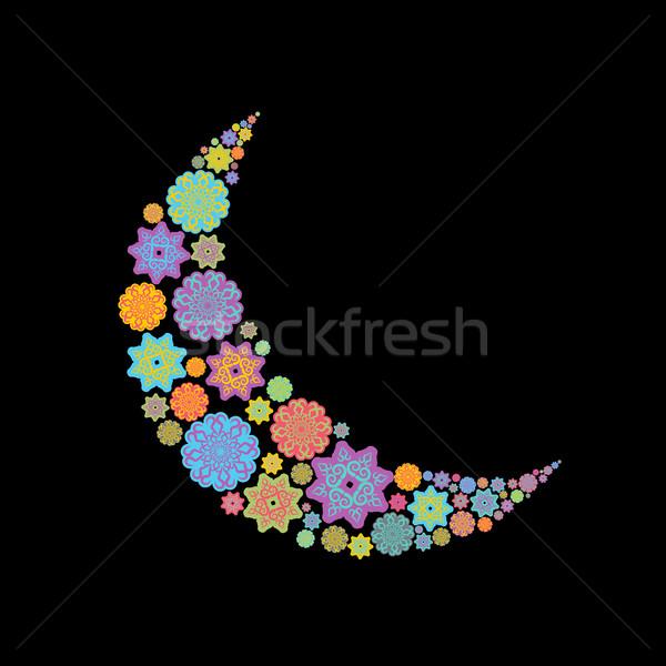 Crescent Arab pattern. Illustration for Eid Mubarak. Ramadan isl Stock photo © popaukropa