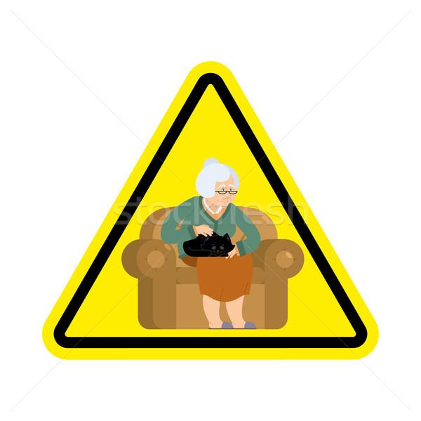 Aufmerksamkeit Großmutter Vorsicht alte Frau Katze gelb Stock foto © popaukropa
