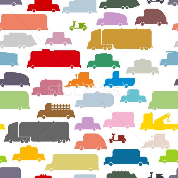 Colorful cars seamless pattern. Lovely texture from ground trans Stock photo © popaukropa