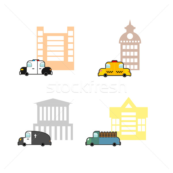 Set cars and buildings. Police and Police Station. Taxi and trai Stock photo © popaukropa