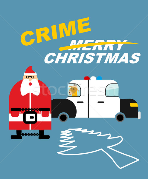 Crime Christmas. Santa Claus in handcuffs. Deer sits in  police  Stock photo © popaukropa