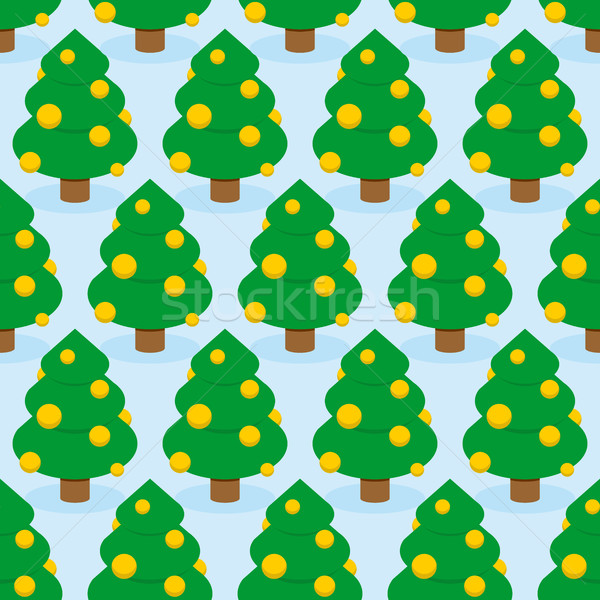 Stock photo: Christmas Tree seamless pattern. Holiday wood ornament. Trees de