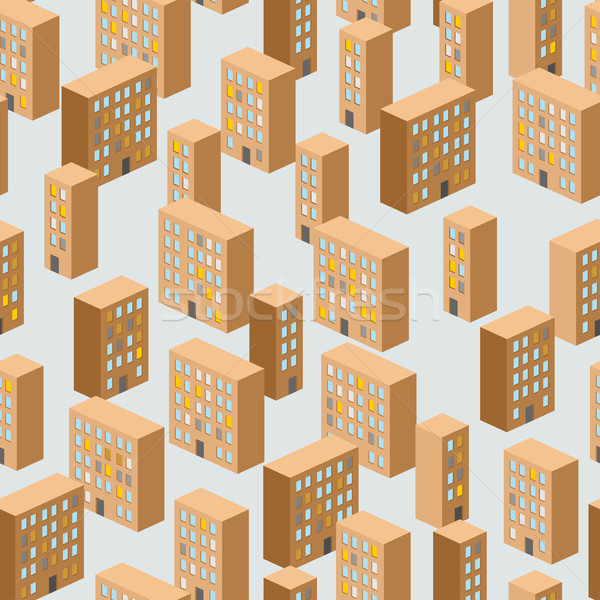 Stock photo: Building seamless pattern. Vector background of the city. Ghetto