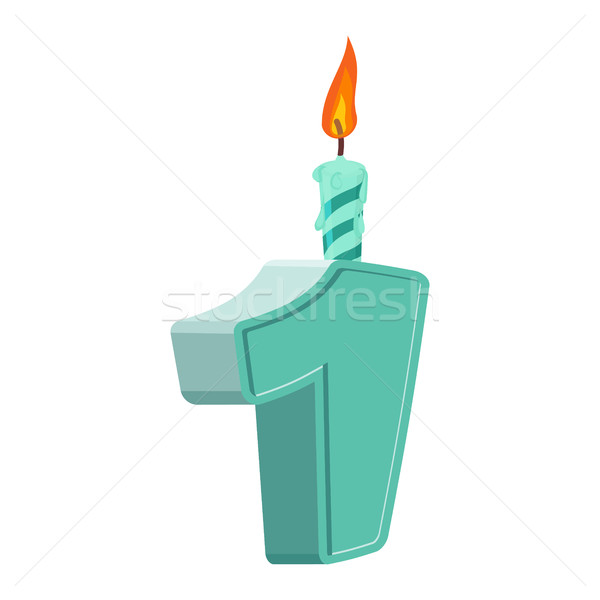 1 year birthday. Figures with festive candle for holiday cake. o Stock photo © popaukropa