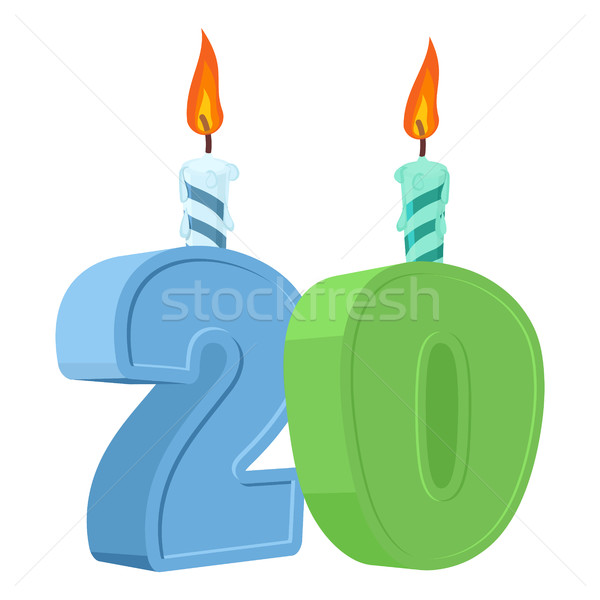 20 years birthday. Number with festive candle for holiday cake.  Stock photo © popaukropa