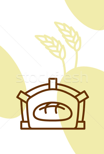 Bakery template design blank, poster. Bread in oven and wheat ea Stock photo © popaukropa