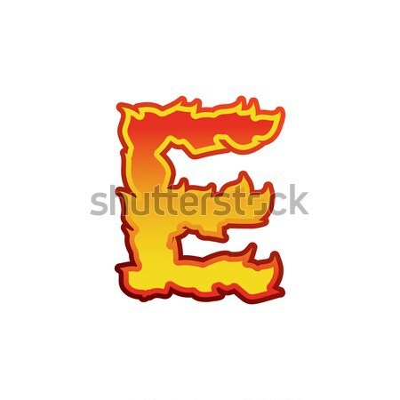Stock photo: Letter L fire. Flames font lettering. Tattoo alphabet character.