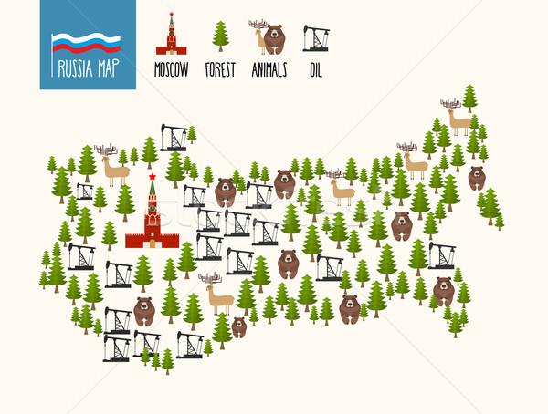 Россия карта русский полезные ископаемые нефть Сток-фото © popaukropa