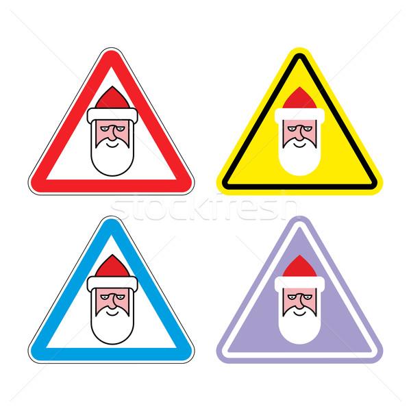 Aandacht kerstman kleur label Stockfoto © popaukropa