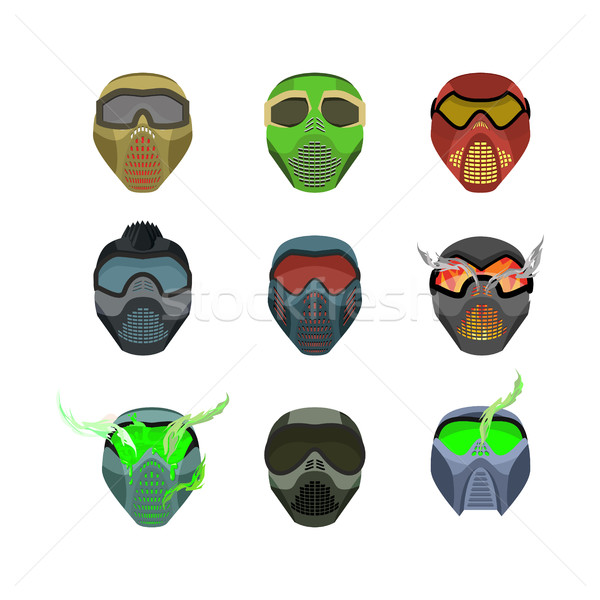 Casques masques sport horrible effrayant Photo stock © popaukropa