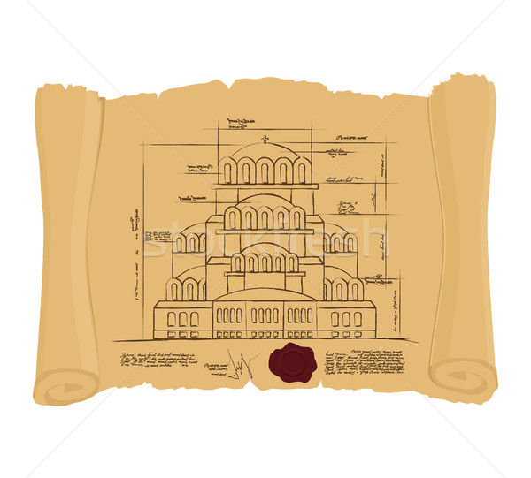 Drawing of Church Of St. Alexander Nevsky of ancient scroll. Ret Stock photo © popaukropa