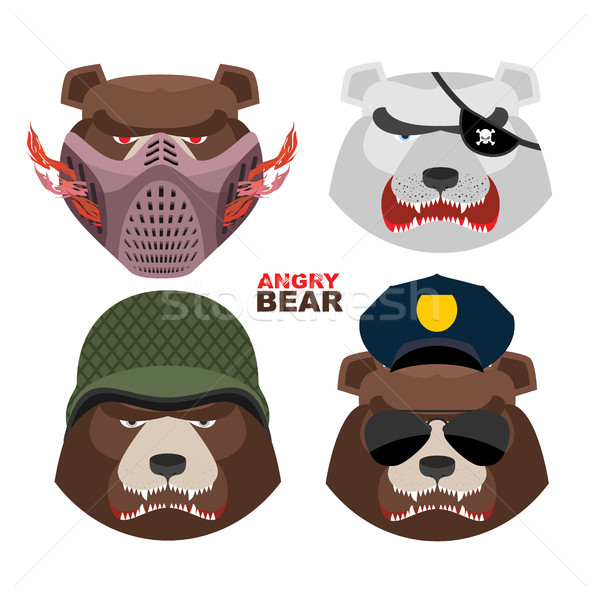 Bears set. A masked bear, polar bear, grizzly bear PIRATE in an  Stock photo © popaukropa
