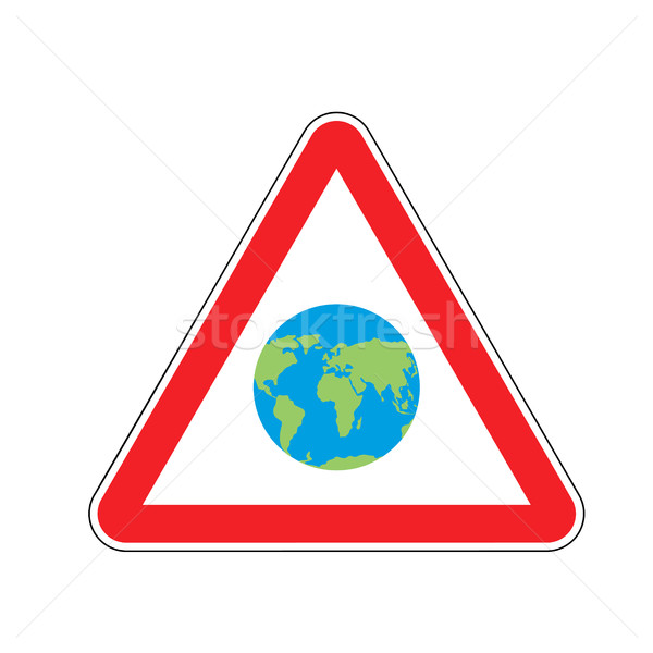 Earth Warning sign red. Planet Hazard attention symbol. Danger r Stock photo © popaukropa