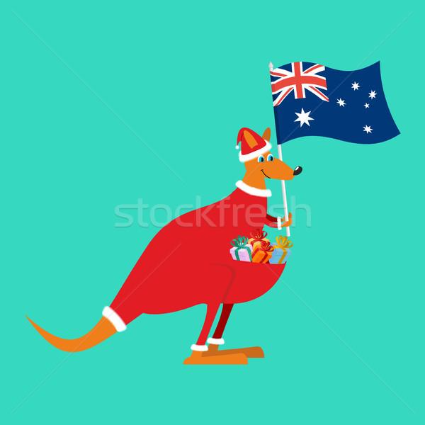 サンタクロース オーストラリア オーストラリア人 カンガルー クリスマス ストックフォト © popaukropa