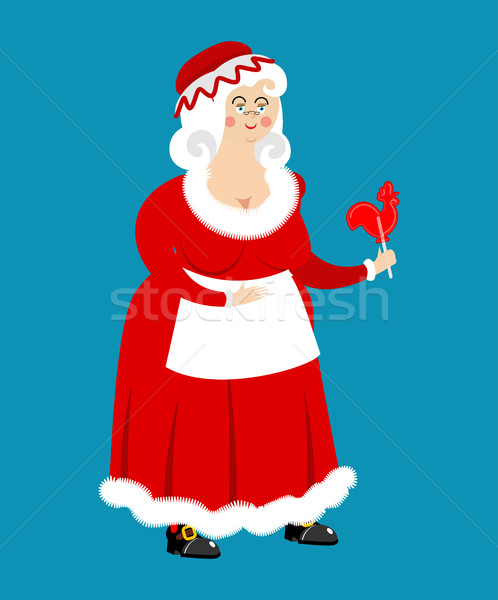 Mrs. Claus isolated. Wife of Santa Claus. Christmas woman in red Stock photo © popaukropa