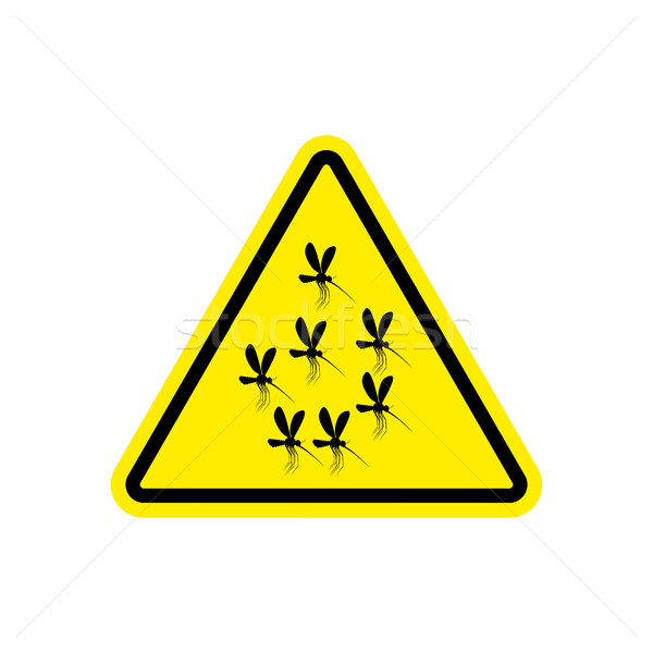 Attention mosquito. midge in yellow Triangle. Warning road sign Stock photo © popaukropa