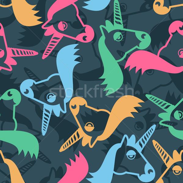 Unicorn seamless pattern. Head of fantastic animal background. M Stock photo © popaukropa