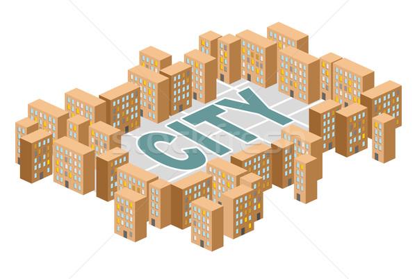 Város épület házak izometrikus vektor nyomornegyed Stock fotó © popaukropa