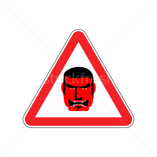 Angry Boss Warning sign red. Evil Head Hazard attention symbol.  Stock photo © popaukropa