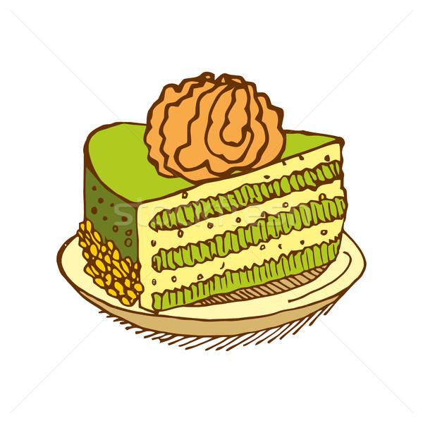 Piece of cake on plate. pie isolated. Dessert on white backgroun Stock photo © popaukropa