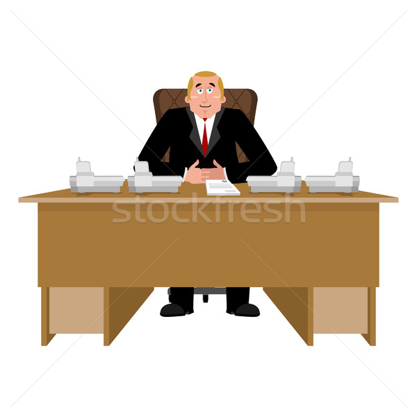 President at desk. Big boss at table. Director in office. Chief  Stock photo © popaukropa