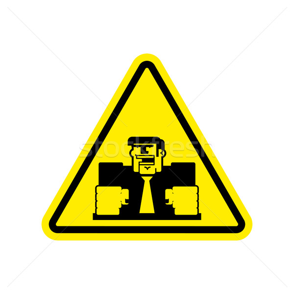 Attention angry boss. chief to yellow triangle. Office sign of C Stock photo © popaukropa