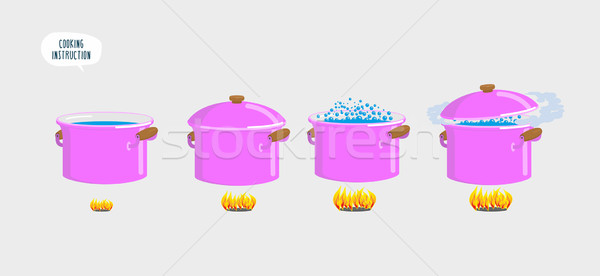 Set cooking plates. Boiling water for various dishes. Stock photo © popaukropa