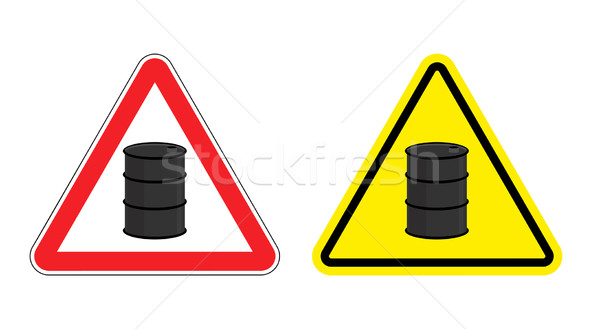 Warning sign of attention barrel of oil. Yellow danger radioacti Stock photo © popaukropa