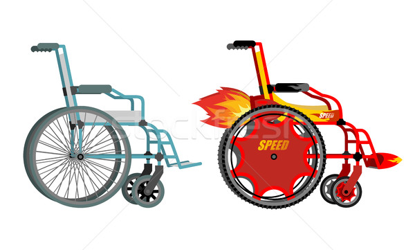 Stock photo: Standard and custom wheelchair. Armchair with turbo engine for h