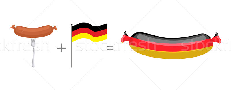 Sausage and German flag. Made in Germany, traditional German qua Stock photo © popaukropa