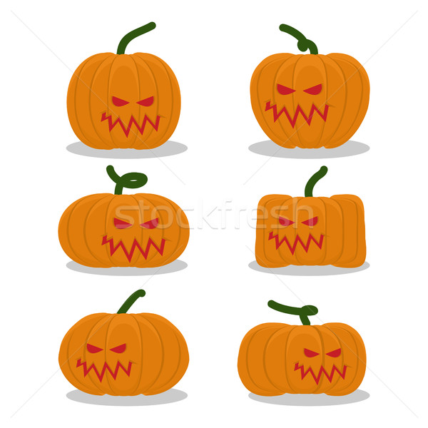 Scary pumpkins for Halloween set. terrible holiday symbol Stock photo © popaukropa