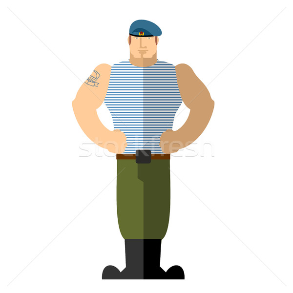Russian soldiers. Military man in t-shirt and blue beret. A stro Stock photo © popaukropa