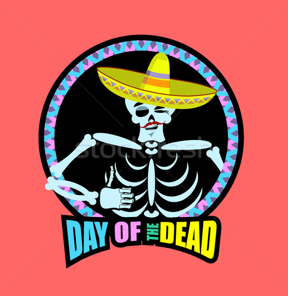 Day of the Dead skeletons and sombrero. Multi-colored skull in M Stock photo © popaukropa
