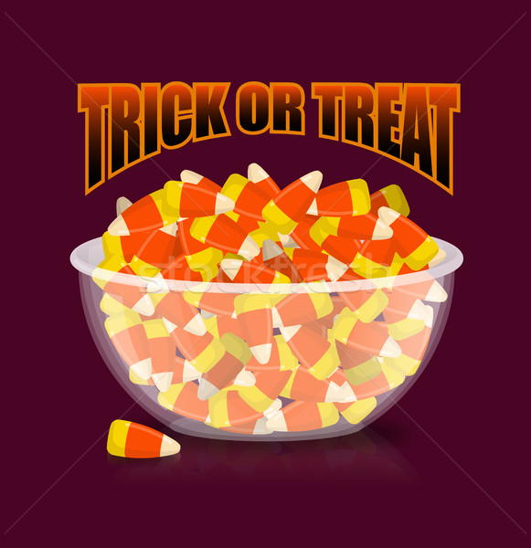 Trick or treat. Halloween illustration. bowl and candy corn. Swe Stock photo © popaukropa