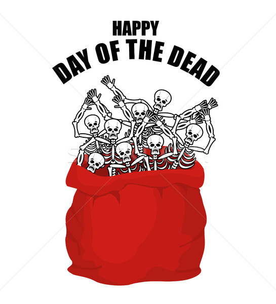 Day of the Dead. Skeletons in sack. Skull in bag. Logo for natio Stock photo © popaukropa