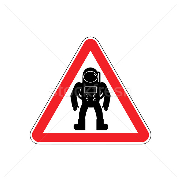 Astronaut Warning sign red. Cosmonaut Hazard attention symbol. D Stock photo © popaukropa