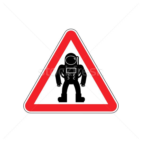 űrhajós figyelmeztető jel piros űrhajós veszély figyelem Stock fotó © popaukropa