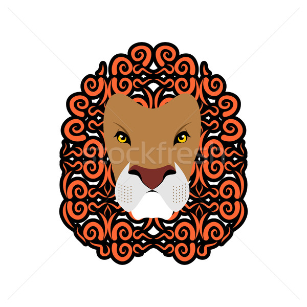 Lion Abstract emblem. Mane ornament. Leo tattoo. wild animal Stock photo © popaukropa