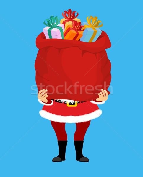 サンタクロース 袋 贈り物 孤立した ビッグ 赤 ストックフォト © popaukropa