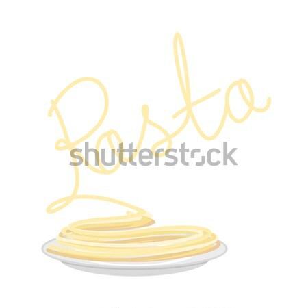Pasta placa aislado espaguetis plato blanco Foto stock © popaukropa