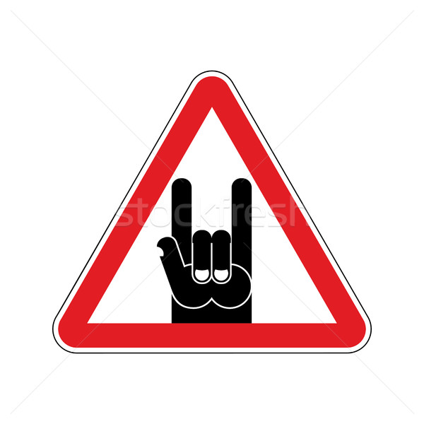 Attention rock music. Warning rock hand symbol. Danger road sign Stock photo © popaukropa