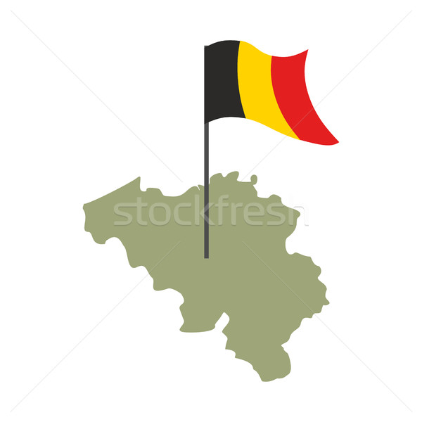 Belgium Map and flag. Belgian banner and land territory. State p Stock photo © popaukropa