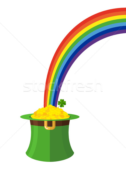 leprechaun hat and rainbow. St. Patricks Day in Ireland. Green c Stock photo © popaukropa