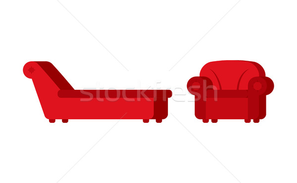 Couch and chair of psychologist. Psychotherapist furniture for p Stock photo © popaukropa