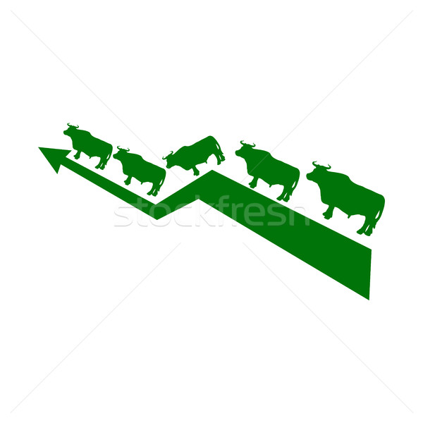 Green Bull Up Arrow. Exchange Trader illustration. Business conc Stock photo © popaukropa