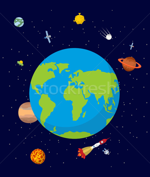 Planet earth in space. Rocket and UFO. Stars and planets. Stock photo © popaukropa