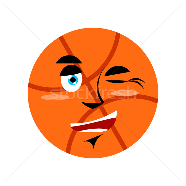 Basketball winking Emoji. Ball happy emotion isolated Stock photo © popaukropa
