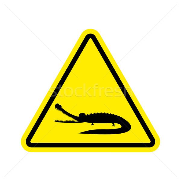 Uwaga krokodyla aligator żółty trójkąt znak drogowy Zdjęcia stock © popaukropa